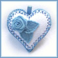 Happy Heart Blue Rose by Jolion on Etsy, Fabric Hearts, Felt Decorations, Heart Crafts, Felt Brooch, Felt Patterns, Heart Ornament, Felt Fabric, Felt Hearts, Felt Toys