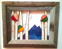 Blue Mountain Peaks with Aspens in Fall, open air stained glass wall art framed in rustic barnwood frame.