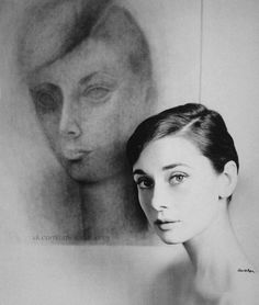 Audrey photographed next to her portrait by Mexican artist Rufino Tamayo,1957 Photo by Richard Avedon Copyright Audrey Hepburn estate
