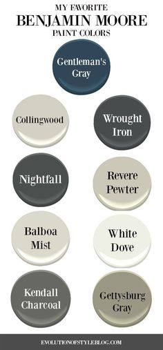 Favorite Benjamin Moore Paint Colors A detailed list with photos - my favorite Benjamin Moore paint colors.A detailed list with photos - my favorite Benjamin Moore paint colors. Farmhouse Paint Colors, Exterior Paint Colors For House, Interior Paint Colors, Paint Colors For Home, Interior Design, Cabin Paint Colors, Interior Painting, Paint Colors For Furniture, Luxury Interior