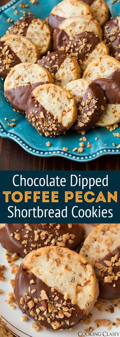 Chocolate Dipped Toffee Pecan Shortbread Cookies - A holiday must! Perfect blend of flavors! #cookies #christmas