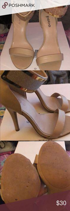 Bebe heels Beautiful open toe sparkly heel from Bebe ! Worn once and kept in the closet bebe Shoes Heels