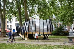 TREExOFFICE - temporary coworking treehouse planted in a london park - created by natalie jeremijenko in collaboration with artists shuster + moseley, architects tate harmer and briefing architects gensler