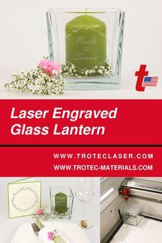 We made these elegant glass lanterns on our 120 watt Speedy 400. You can make your own by following our step-by-step tutorial in the link below! #troteclaser Trotec Laser, Glass Lanterns, Diy Wedding Decorations, Laser Engraving, Make Your Own, Elegant, Link, Classy, Chic