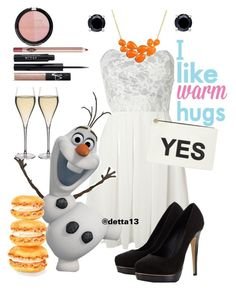 """Affordable Xmas Party: Olaf"" by detta13 ❤ liked on Polyvore featuring TFNC, Lipsy, Disney, Peugeot, B. Brilliant, Dorothy Perkins, RoomMates Decor, Forever 21, NARS Cosmetics and Stila"