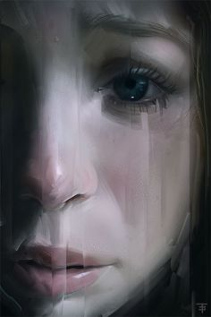 """25.09.2012"" - Turhan Algan {contemporary female head woman digital portrait painting} Despair!!"