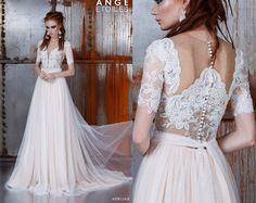 Wedding dress ADELIAS, bohemian wedding dress, long sleeve wedding dress, long sleeved wedding dress, bridal gown by RaraAvisAngeEtoiles on Etsy https://www.etsy.com/listing/250005501/wedding-dress-adelias-bohemian-wedding