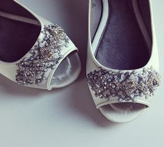 b1bddfc1b8a8 Wedding Shoes - Edwardian Inspired Peep Toe Flats - Crystal and Lace - Ivory White Custom  Colors