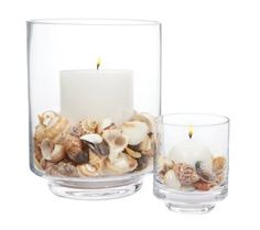 Home Decor has inexpensive shells and Dollar Tree has glass containers.