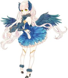 anime girl with blue wings