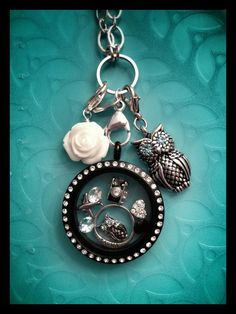 Love! Love! Love this look!!! Origami Owl.. It's okay to mix a black locket w/crystals with a silver link chain. Join My Team - Andrea Stokes, IDM #5993 ADStokes.OrigamiOwl.com Andrea.Stokes1@gmail.com
