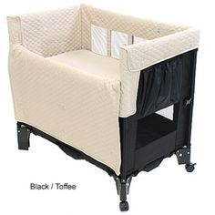 Arm's Reach Mini Convertible Co-Sleeper Bassinet: affordable, small for master bedroom, wheels on one end, travels well.