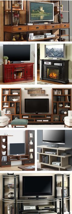 Whether it's the center of your living room or tucked away in the den, a tv stand should suit your needs and blend into your home's decor. Home Living Room, Apartment Living, Living Room Decor, Living Spaces, Rustic Apartment, Style Cottage, Muebles Living, Home Projects, Family Room