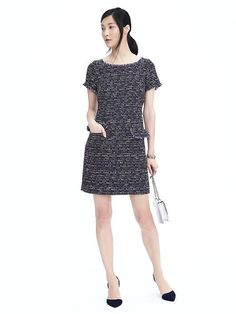 Tweed Shift Dress by Banana Repbulic White Shift Dresses, Day Dresses, Dresses For Work, Outfits 2016, Banana Republic Shorts, Tweed Dress, Metallic Dress, Modern Outfits, Work Wear