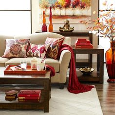 From Pier I love this living room! Burgundy Living Room, Beige Living Rooms, Living Room Red, Living Room Colors, Formal Living Rooms, Living Room Interior, Living Room Designs, Living Room Decor, Red Home Decor
