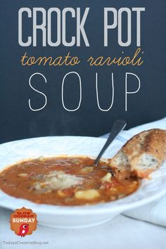 Crock-Pot Tomato Ravioli Soup Recipe  (scheduled via http://www.tailwindapp.com?utm_source=pinterest&utm_medium=twpin&utm_content=post1262615&utm_campaign=scheduler_attribution)