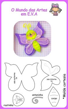 feutrine - Page 2 Foam Crafts, Diy And Crafts, Crafts For Kids, Paper Crafts, Craft Projects, Sewing Projects, Felt Templates, Butterfly Crafts, Butterfly Felt