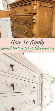 Stencil Texture For Painted Furniture - If you've never tried a raised stencil before, I have 12 easy tips in hopes it will encourage you - Refurbished Furniture, Farmhouse Furniture, Repurposed Furniture, Antique Bedroom Furniture, Diy Furniture Projects, Paint Furniture, Furniture Makeover, Diy Furniture Stencil, Furniture Design