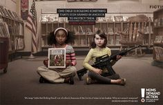 "powerful ad ""choose one"" by moms demand action... ""We keep 'Little Red Riding Hood' out of schools because of the bottle of wine in her basket. Why not assault weapons? """