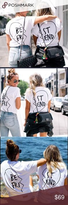 NEW! Best Friends Tee Set Best Friend Tees Sold together as a set - after purchase, leave note for your best friend's size. They will ship out together. ❤️ Crew neck Short sleeves Loose fit Stretch Cotton, spandex True to size Models are wearing sizes small Haus of Layers Tops Tees - Short Sleeve