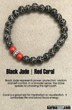 Black jade represents power, protection, wisdom and self-control. #Black #Jade #Red #Coral #Beaded #Beads #Bijoux #Bracelet #Bracelets #Buddhist #Chakra #Charm #Crystals #Energy #gifts #gratitude #Handmade #Healing #Jewelry #Kundalini #LawOfAttraction #LOA #Love #Mala #Meditation #Mens #prayer #pulseiras #Reiki #Spiritual #Stacks #Stretch #Womens #Yoga #YogaBracelets