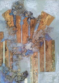Gold Columns On Opal Background Print By Lynda Stevens