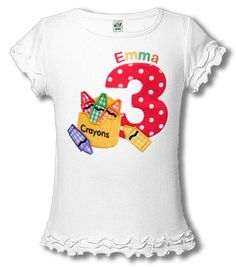 Crayon Art Birthday Shirt Personalized By Happytownembroidery 2500 Parties 2nd Party
