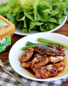 To Food with Love: Dak Bulgogi (Korean Bbq Chicken) (easy korean recipes brown sugar) Korean Barbeque, Korean Bbq Chicken, Grilled Bbq Chicken, Boneless Chicken, Barbecued Chicken, I Love Food, Good Food, Yummy Food, Asian Recipes
