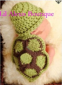 Adorable infant boy girl crochet turtle costume. For newborn photo props, baby shower gift, halloween costume gifts under 50. $35.00, via Etsy.
