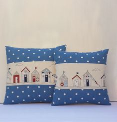 "Nautical Pillow Cover Beach Huts Handmade Fabric pillow cover 14""x14"" and 16""x16"" Fryetts ""Maritime"" and Clarke & Clarke"" Dotty Denim Blue"""