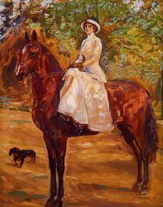Max Slevogt - Lady in white dress on horseback.