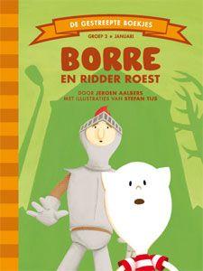 'Borre en ridder Roest' - Borre kijkt naar een spannende film over een ridder en een prinses. Dingdong. Daar gaat de deurbel. Het is een ridder! 'Ik ben ridder Roest,' zegt hij.' Mijn harnas is wat stroef en het piept, heb jij misschien wat smeerolie die ik mag gebruiken?' Opeens roept er buiten iemand om hulp. 'Dat klinkt als een prinses in gevaar!' Snel rennen Borre en de ridder naar buiten om haar te redden... (tekst: Jeroen Aalbers, illustraties: Stefan Tijs)
