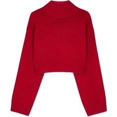 DKNY Red cropped wool blend jumper (£245) ❤ liked on Polyvore featuring tops, sweaters, red cropped sweater, red crop top, cut-out crop tops, dkny and red jumper