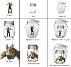 An ajar JarJar in a jar in an ajar jar