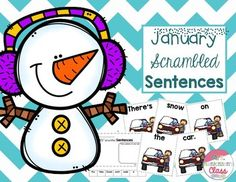 January Scrambled Sentences:- included are 6 sets of cards, perfect for a literacy center, along with 2 printables with a black and white picture to match up to the picture on the cards to write the completed sentence- 5 pages of sentences - cut and organize the sentence in order and glue to the top of the page and then draw a picture of what the sentence isAll with a fun January/winter theme!Check out some of my other winter literacy units!Winter Vowels I SPYWinter Vowel Cards