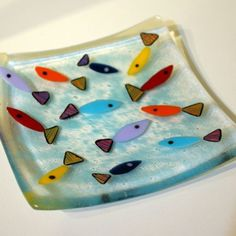 fish fused glass dish