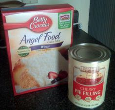 "2 ingredient dessert, ""Angel Fruit Pie"". Angel food cake mix + pie filling = Happy Husband. ^_^"