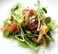 Poke Salad (inspired by Stage restaurant's Ahi poke appetizer) (printable version) Healthy Salad Recipes, Raw Food Recipes, Seafood Recipes, Asian Recipes, Ethnic Recipes, Hawaiian Recipes, Poke Salad, Tuna Salad, Ahi Tuna Poke