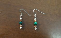 Round Malachite Copper and Freshwater Pearl Earrings