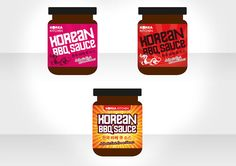 Packaging Design  A range of packaging concepts for Korean BBQ sauce. The graphics needed to echo the cultural DNA of Korea and Asian cuisine. The options range from typographical routes, food pictures to the more extreme and wacky option with a cartoon character featured on the face of the jar. The client was pleased with the range of solutions – production and artwork was handed backed to the lead agency. Korean Bbq Sauce, Eureka Moment, Food Pictures, Drink Sleeves, Dna, Packaging Design, How To Memorize Things, Range, Graphics