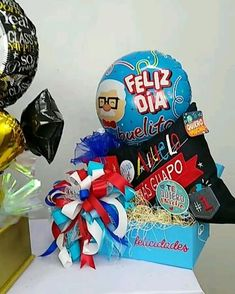 Birthday Box, Birthday Gifts, Happy Birthday, Best Dad Gifts, Gifts For Dad, Balloon Bouquet, Sewing Basics, Gift Baskets, Chocolates
