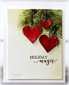 My card a sketch at CAS Colours & Sketches blog ! I used some die cut hearts from Spellbinders and stamps from Penny Black Natu...