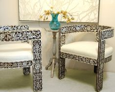 Syrian mother of pearl inlaid chairs. EXCLUSIVE furniture design by ALKHAYAT. Can be purchased on alkhayatfaf.com