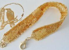 Gold beaded band bracelet Beaded gold bracelet Flat by Ravenmood