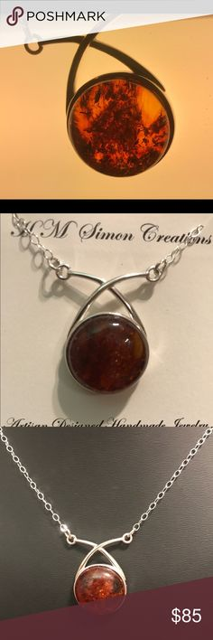 ".925 Sterling Silver Amber Pendant Necklace A-7-12 20mm Round Amber Cabochon set in a .925 Sterling Silver Bezel that hands on an 19"" .925 Sterling Silver Chain and clasp. This is a one of a kind, handmade creation. Handmade by HM Simon Jewelry Necklaces"