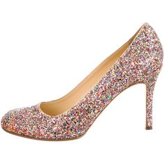 Kate Spade New York Karolina Glitter Round-Toe Pumps ($95) ❤ liked on Polyvore featuring shoes, pumps, pink, colorful shoes, kate spade pumps, kate spade, multi colored pumps and glitter pumps