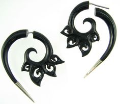 Silver Tipped Horn Fake Gauge Bali Cloud Spiral Earrings