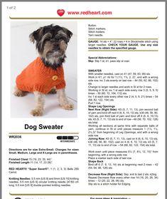 Page 1 - dog coat pattern Crochet Dog Sweater Free Pattern, Baby Hat Knitting Patterns Free, Dog Coat Pattern, Animal Knitting Patterns, Knit Dog Sweater, Dog Crochet, Crotchet Patterns, Knitting Stitches, Free Knitting