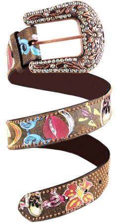 e83c830d4bb cinto feminino roper em couro pintado a mao com fivela em strass p9794 -  Busca na Loja Cowboys - Moda Country