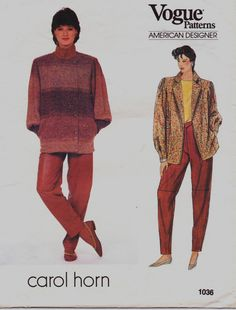 80s Vogue American Designer Pattern 1036 Carol Horn by CloesCloset, $19.00